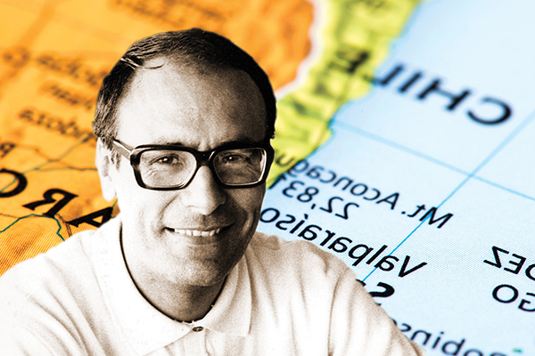 Ernesto Schiefelbein superimposed over a map of Chile